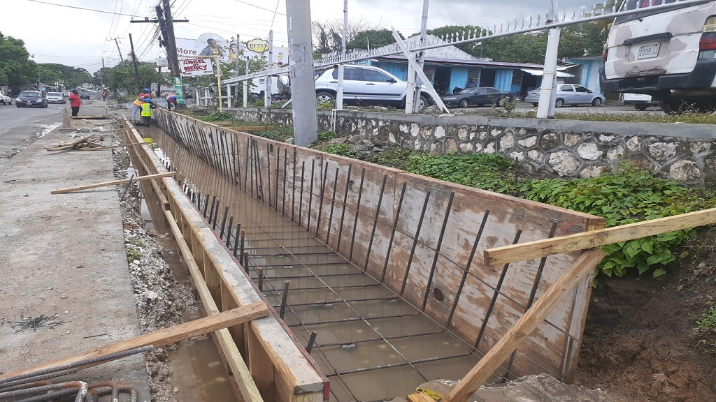 Construction work being done in Morant Bay, St Thomas as part of a road upgrade project in the parish.