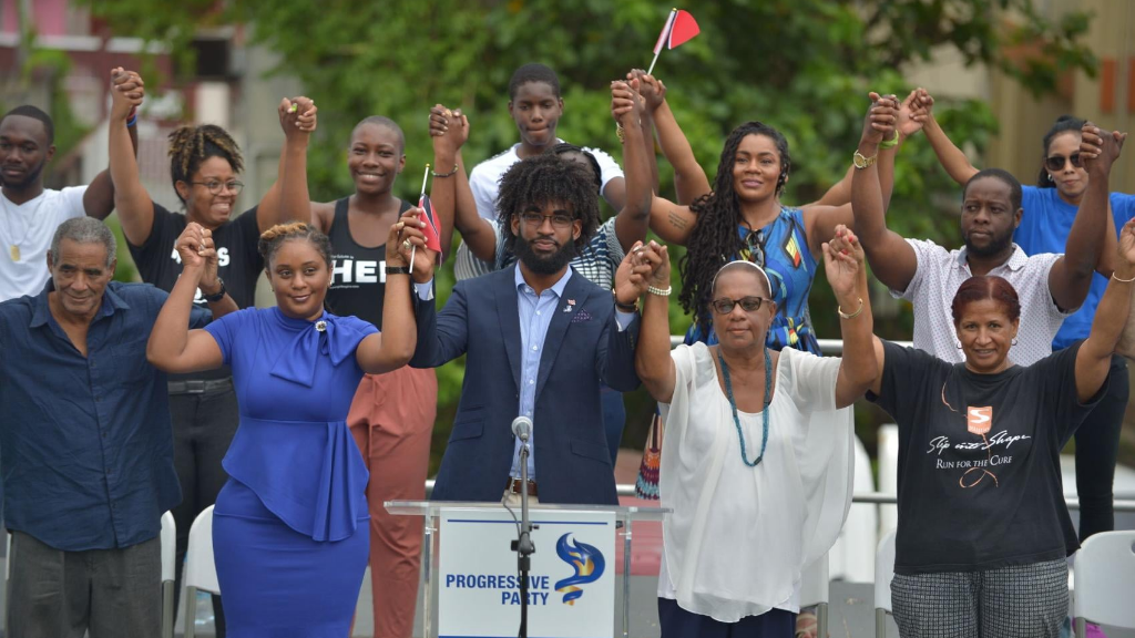 Pictured: The Progressive Party rallies around its sole candidate for the August 10 General Election, Nikoli Edwards. Edwards will contest the San Fernando West seat.