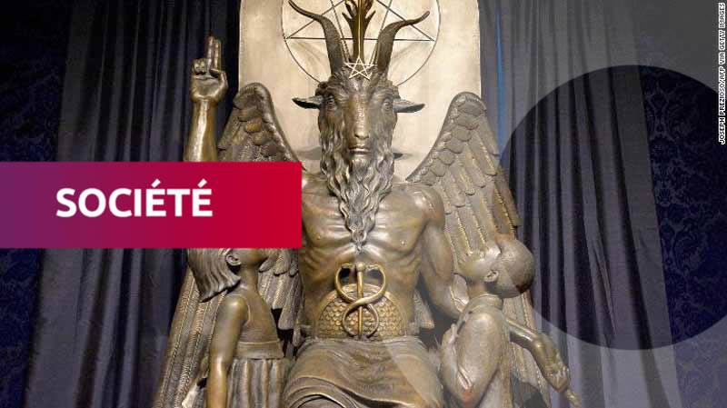 La statue de Baphomet à la Maison de Satan, à Salem, dans l'État du Massachusetts. Photo/CNN