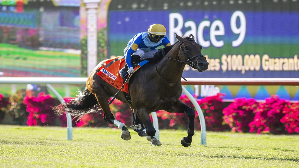 In this image provided by Benoit Photo, Hit the Road, with Umberto Rispoli aboard, wins the $100,000 Runhappy Oceanside Stakes horse race Friday, July 10, 2020, at Del Mar Thoroughbred Club in Del Mar, Calif. (Benoit Photo via AP).