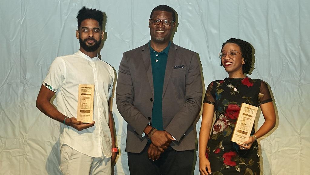"Photo: Marlon James Photo - Renaldo ""Red"" Frederick, 2019 Winner Overall Jury Prize for Eden Eaten (left) Carver Bacchus, Festival Founder & Director (centre), Janis Mollineau, 2019 Winner Youth Jury Prize for Compost IT."