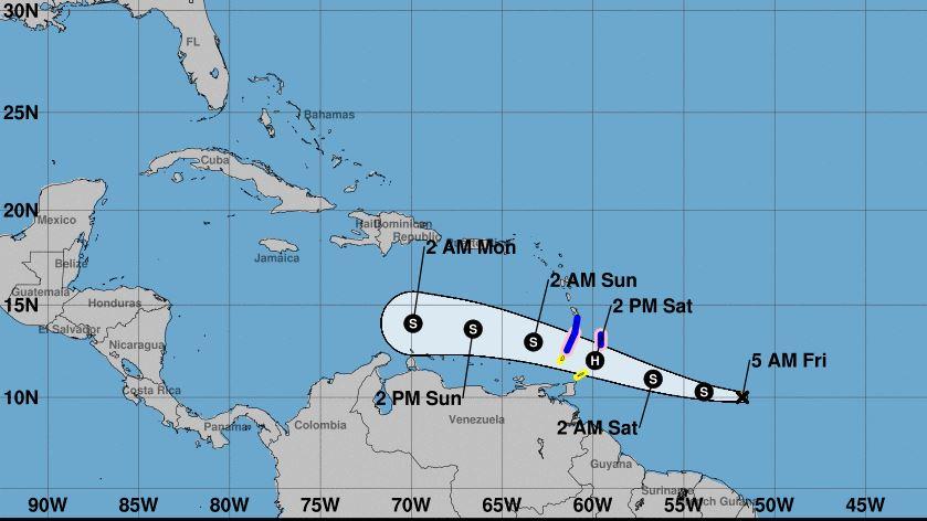 Warnings/Cone map Source: NOAA, 8 AM AST