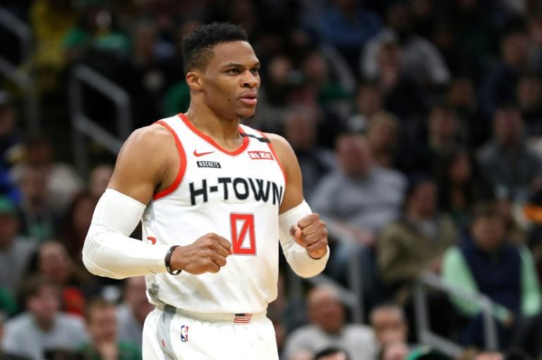 Russell Westbrook avec les Houston Rockets sur le parquet des Boston Celtics, le 29 février 2020 afp.com - Maddie Meyer