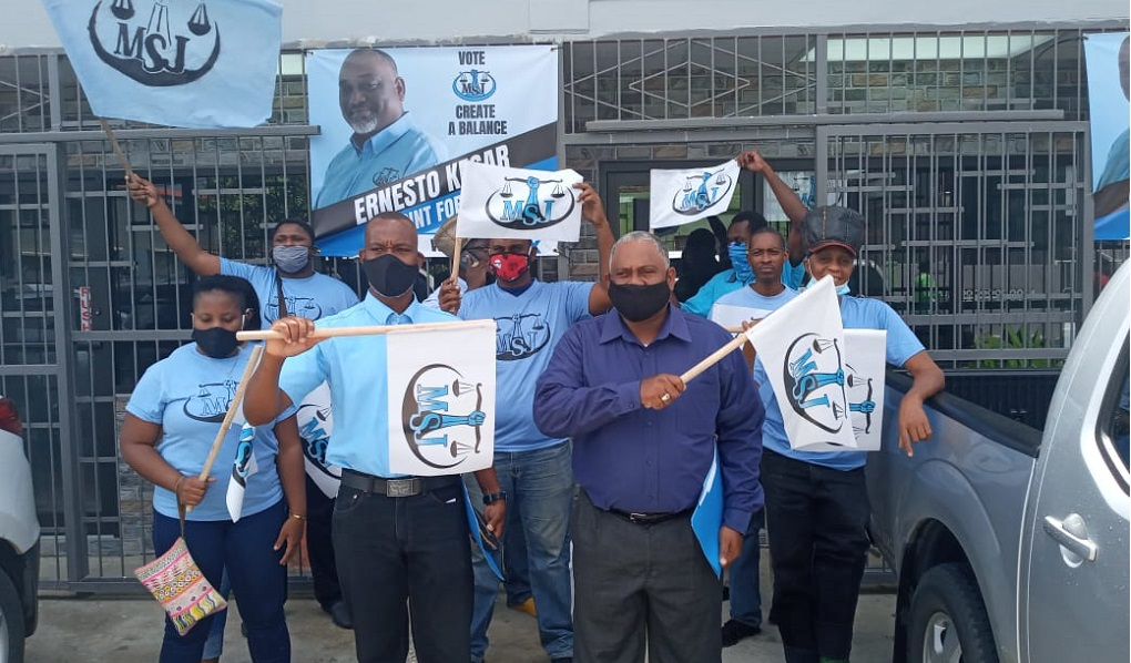 Photo of Point Fortin candidate Ernesto Kesar and his supporters