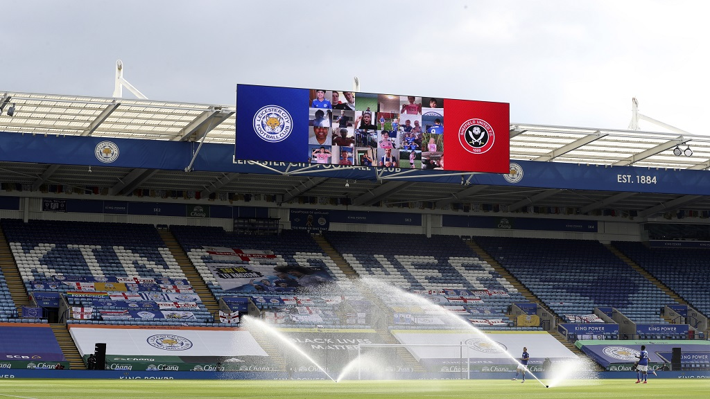 A general view of empty stands before the English Premier League football match between Leicester City and Sheffield United at the King Power Stadium, in Leicester, England, Thursday, July 16, 2020. (Cath Ivill/Pool via AP).