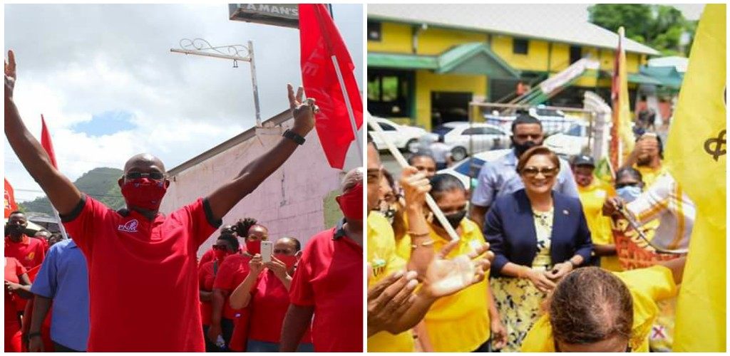 Pictured: (L-R) Prime Minister Dr Keith Rowley and Opposition Leader Kamla Persad-Bissessar surrounded by supporters on Nomination Day