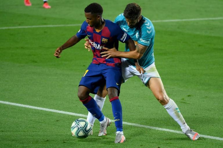 L'attaquant du FC Barcelone Ansu Fati contre Osasuna le 16 juillet 2020 afp.com - LLUIS GENE