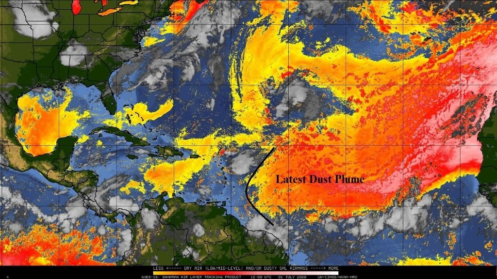 Pictured: New Saharan dust plume to affect Trinidad and Tobago. Photo via Facebook, Trinidad and Tobago Meteorological Service.