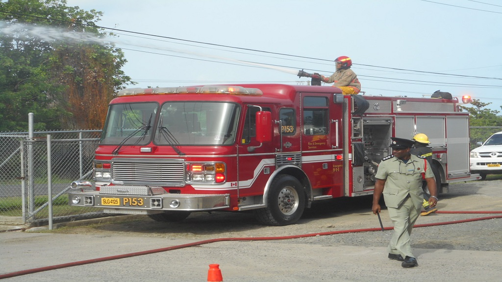 A demonstration on how the fire trucks work