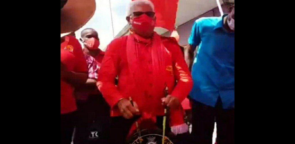 Health Minister Terrence Deyalsingh plays tassa on Nomination Day, July 17, 2020