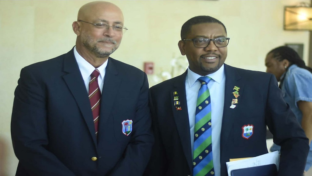 Ricky Skerritt (left) Dave Cameron at the Jamaica Pegasus Hotel just before Cricket West Indies (CWI) presidential election on March 24, 2019. Skerritt defeated Cameron eight votes to four to secure the top job.