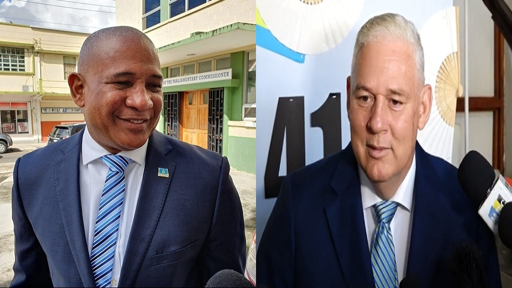 First Deputy Leader of the Saint Lucia Labor Party, Ernest Hilaire (left), Prime Minister Allen Chastanet