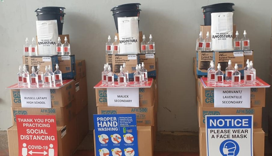 Flashback: Angostura donates hand sanitisers for use in schools.