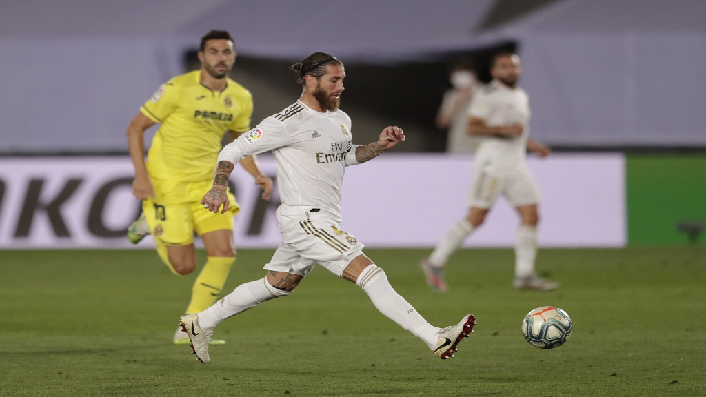 Real Madrid's Sergio Ramos, controls the ball during the Spanish La Liga football match against Villareal at the Alfredo di Stefano stadium in Madrid, Spain, Thursday, July 16, 2020. (AP Photo/Bernat Armangue).