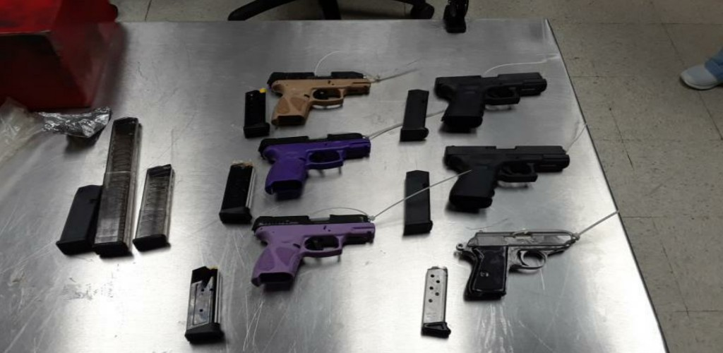 Gun shipment seized: US Customs and Border Protection (CBP) seized six semi-automatic pistols and nine pistol magazines inside a toolbox sent via air courier from Tennessee to Port of Spain, Trinidad. (Photo: US Customs and Border Protection)