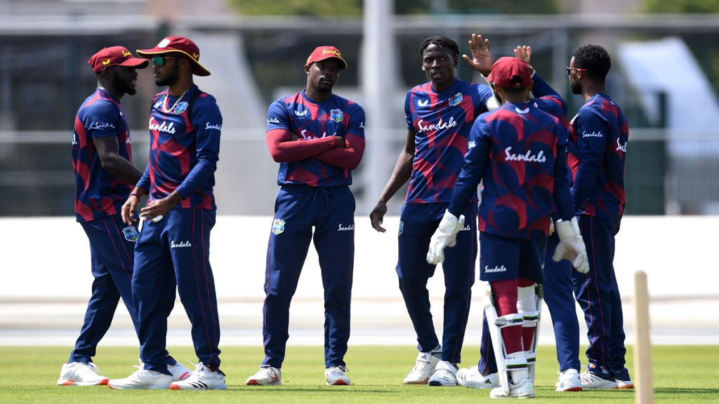 West Indies players competing in an intra-squad game in England last week.