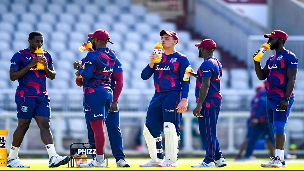 West Indies players take a drink break during the West Indies four-day intra-squad match, which ended at the Emirates Old Trafford on Thursday, July 2, 2020.