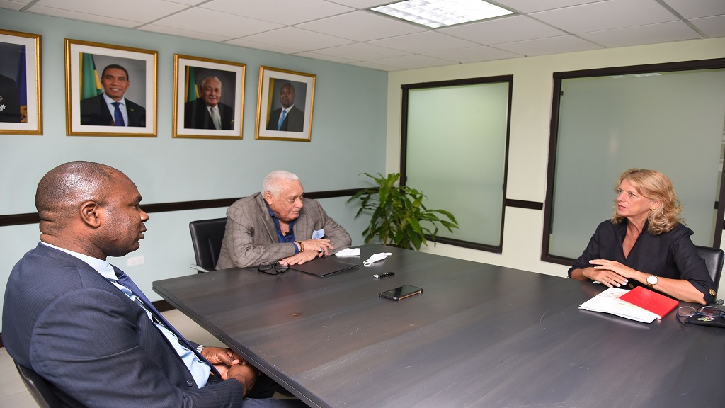 (From left) State Minister Zavia Mayne, Minister Mike Henry and Canadian  High Commissioner Laurie Peters.