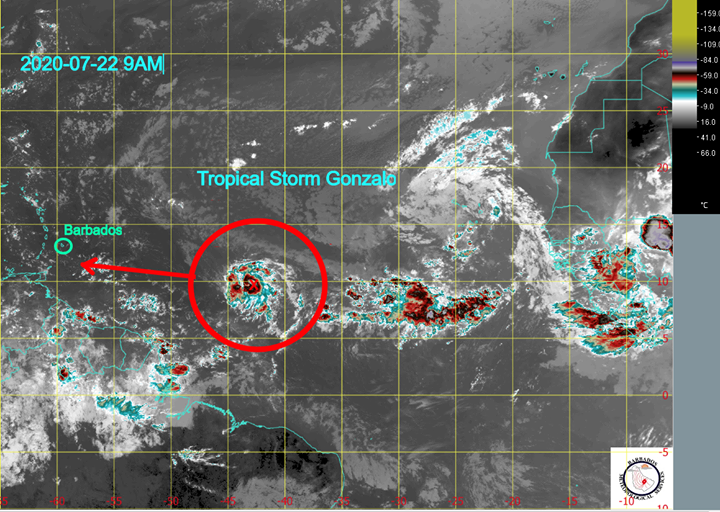 The trajectory of Tropical Storm Gonzalo. (Photo: The Barbados Meteorological Services)