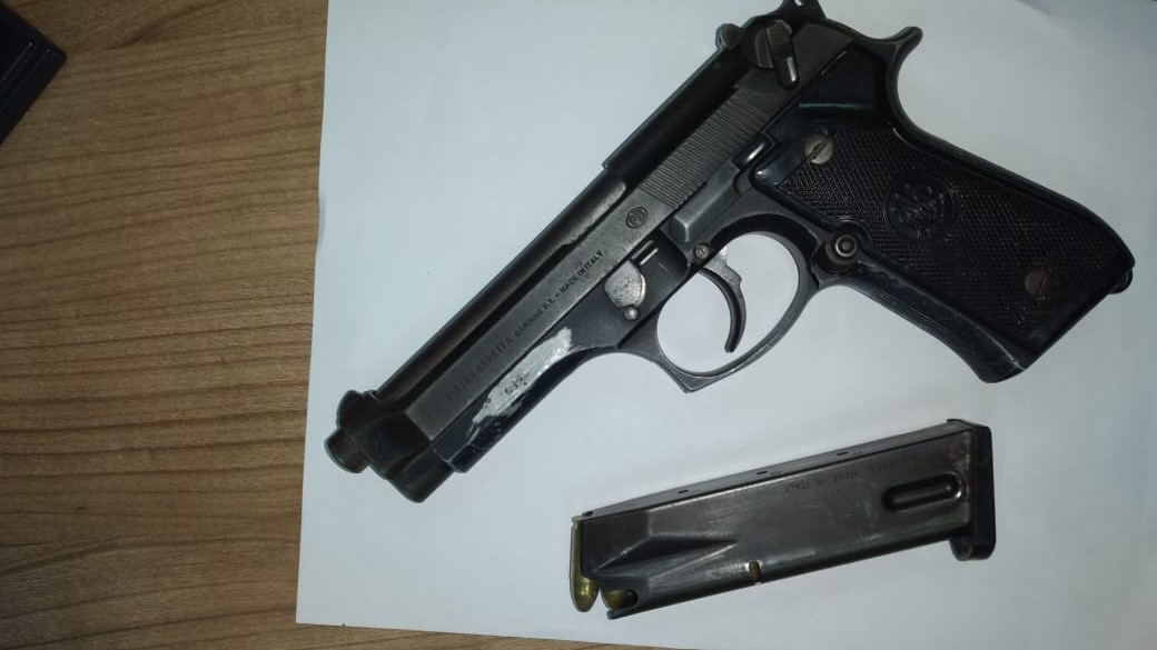 Seized: Berretta 9mm pistol and 13 rounds of9mm ammunition
