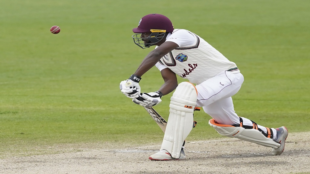 West Indies' Shamarh Brooks bats during the last day of the second cricket Test match against England at Old Trafford in Manchester, England, Monday, July 20, 2020. (AP Photo/Jon Super, Pool).