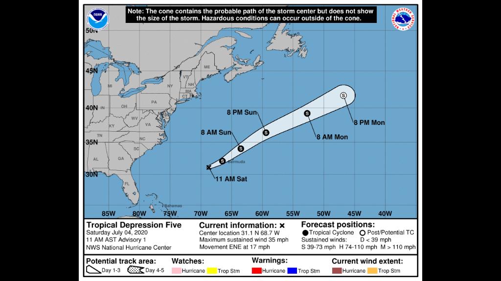 Tropical Depression Five. Photo: US National Hurricane Centre.