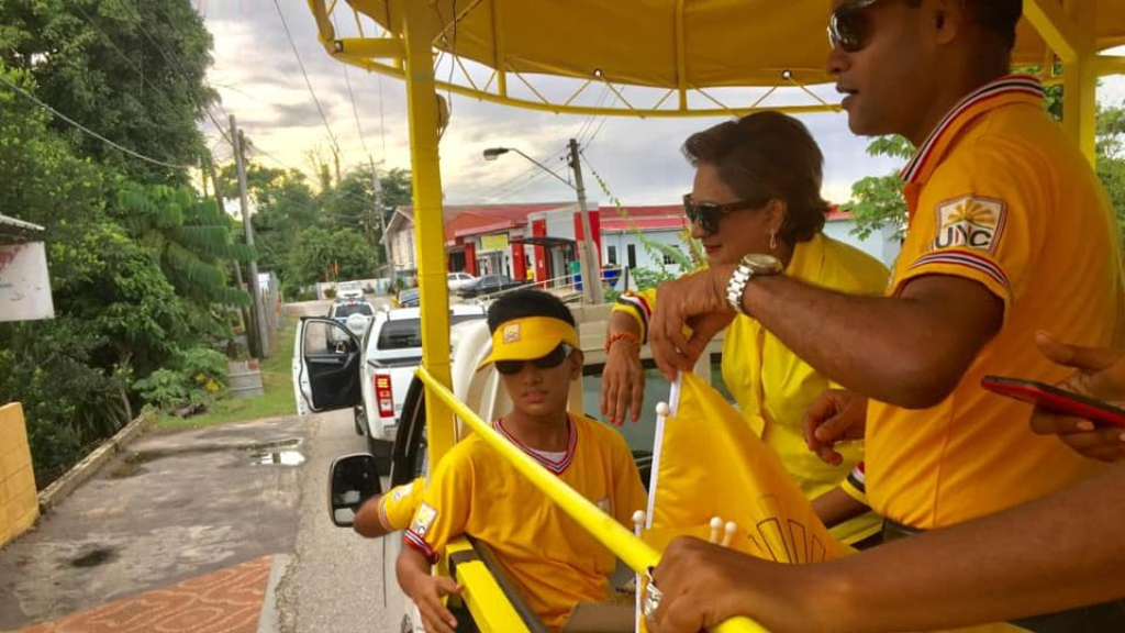 Flashback: UNC leader Kamla Persad-Bissessar during a motorcade in Tableland during the UNC's 2019 Local Government Election campaign.
