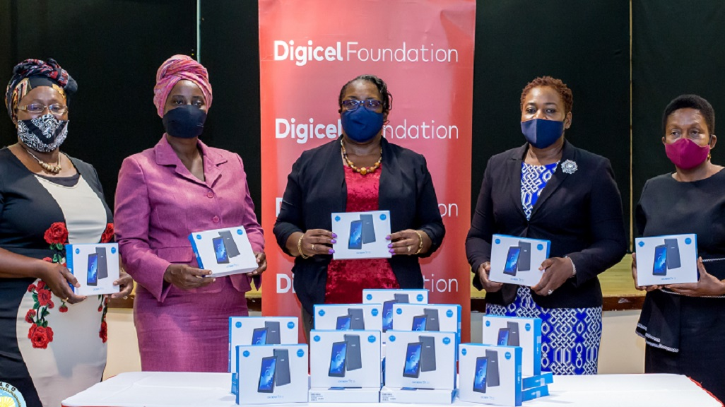 Photo: Sherry Ann Rollocks- Hackett School Supervisor III Division of Education, Cordella Pantin Principal of Tobago School for the Deaf, Dianne Le Cointe Principal Happy Haven, Denese Coby-Quashie Administrator, Division of Education and Diane Karen Boatswain School Supervisor II Primary, proudly display the tablets donated by the Digicel Foundation to begin virtual educational learning for special schools in Tobago. Photo courtesy the Digicel Foundation.