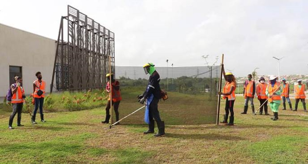 CEPEP workers provide ground maintenance services at the UWI – Debe Campus Quarantine Facility