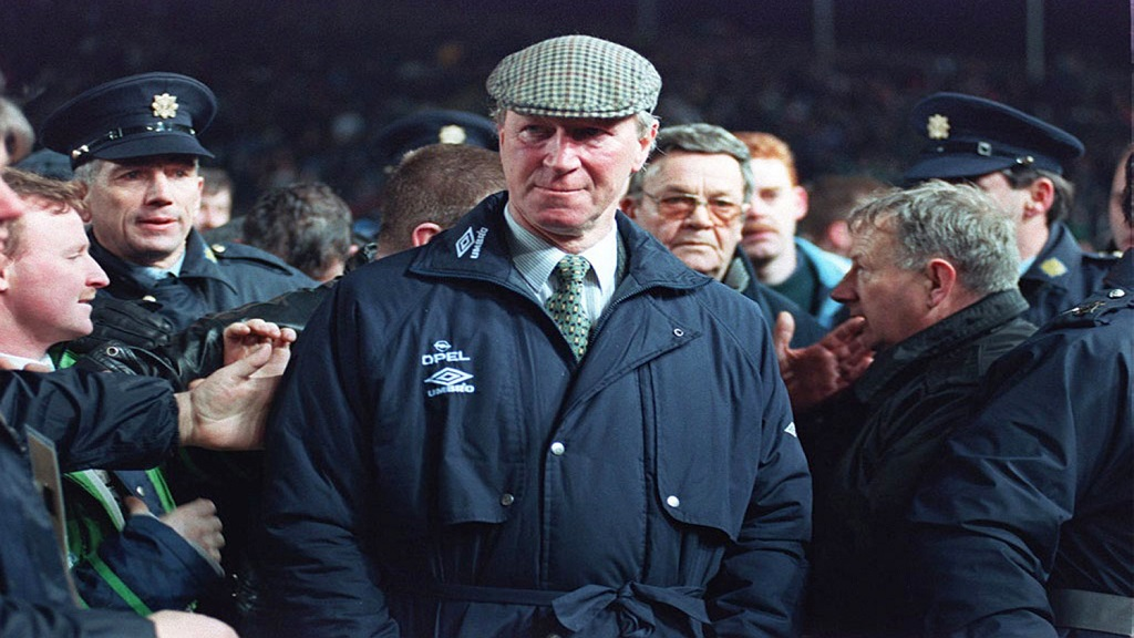 A February 15, 1995 file photo of Ireland football team manager Jack Charlton. Charlton, who won the World Cup with England in 1966, has died it was announced on Saturday July 11, 2020. He was 85. (PA via AP).