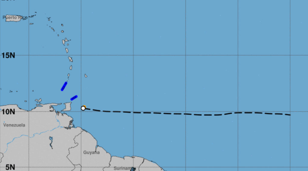 TS Warnings remain for Tobago and Grenada (Graphic credit: NHC)