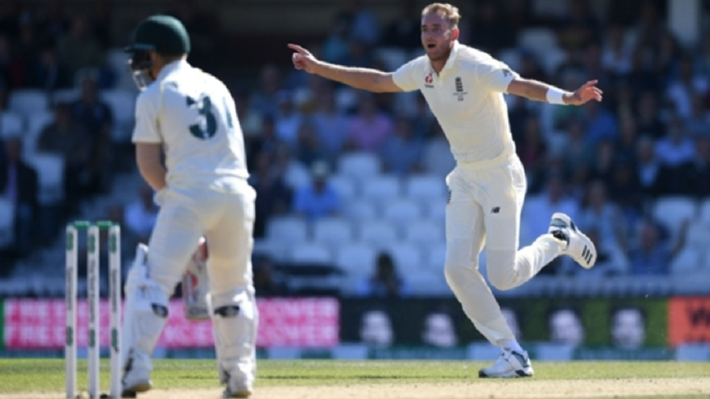 England's Stuart Broad celebrates after dismissing David Warner of Australia during the Ashes series in 2019.