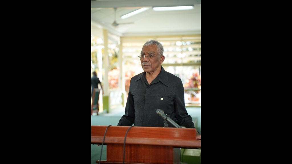 President David Granger makes his address at the Swearing-in Ceremony of Brigadier Godfrey Bess, Chief of Staff of the Guyana Defence Force , today, at State House. Photo: Ministry of the Presidency.