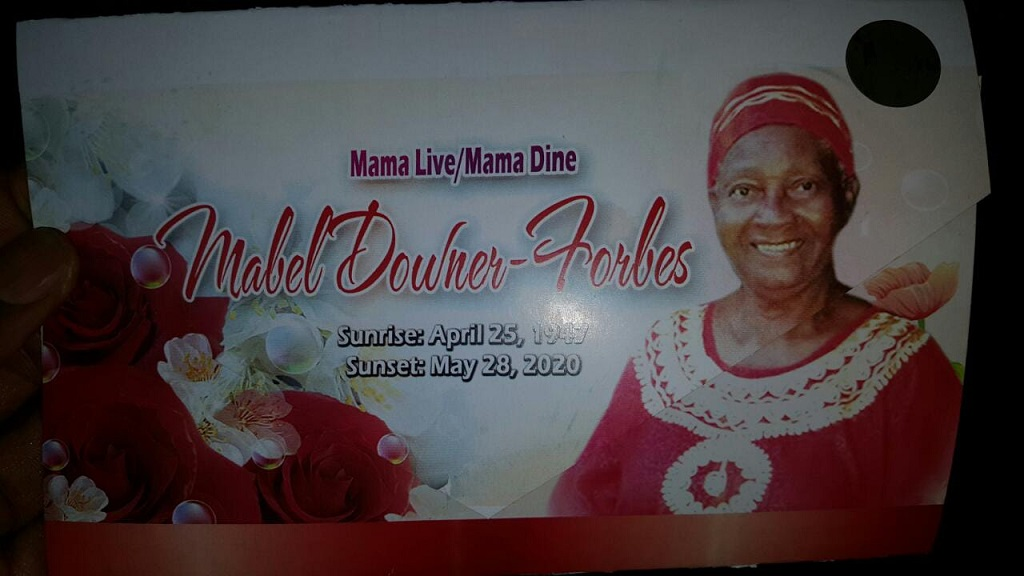 The cover of the funeral programme for the late Mabel Downer-Forbes, mother of reggae and dancehall star Capleton.