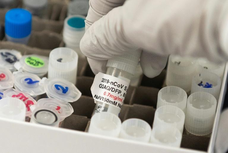 Nita Patel, responsable du développement des vaccins, manipule un flacon contenant un projet de vaccin contre SARS-CoV-2 de la société Novavax, dans les locaux de l'entreprise à Gaithersburg, Maryland, le 20 mars 2020 ANDREW CABALLERO-REYNOLDS AFP