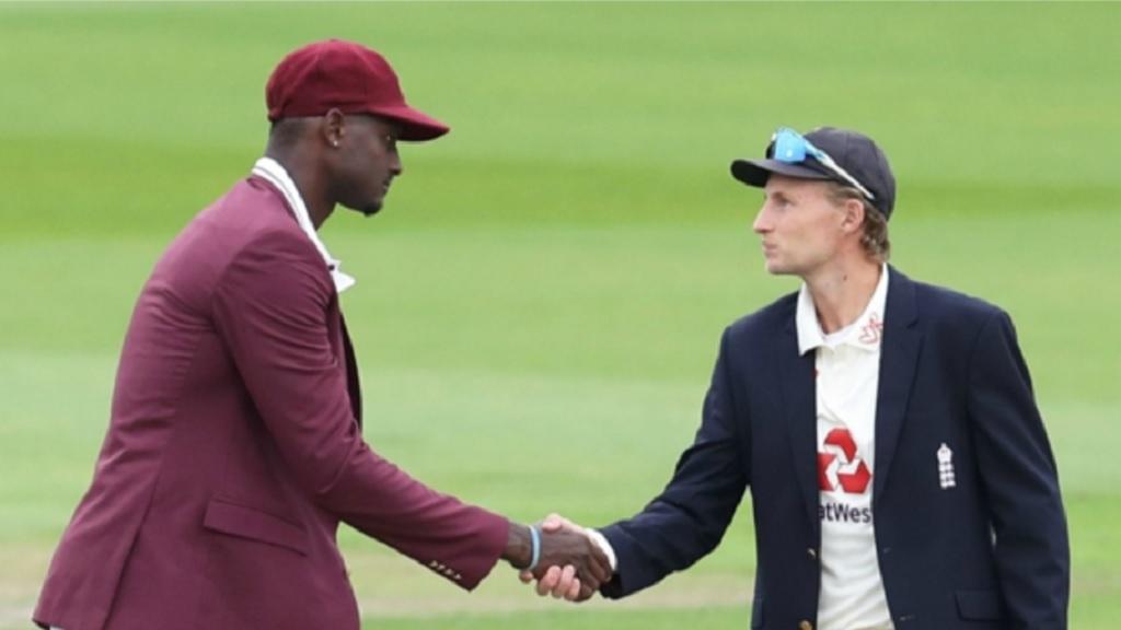 West Indies captain Jason Holder (left) greets England captain Joe Root.