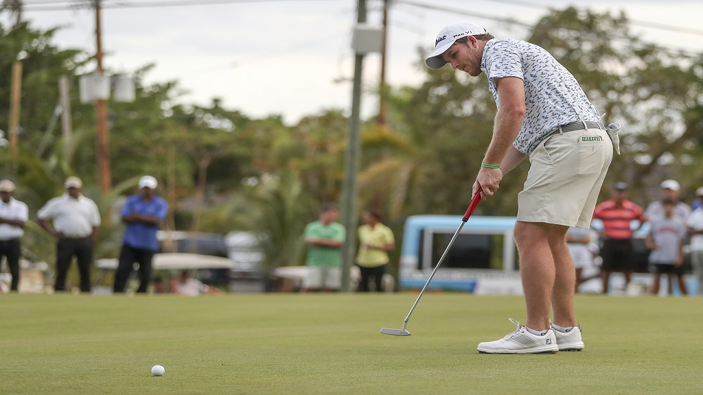 American Patrick Cover in action during the 2019 staging of the Jamaica Open at the Tryall Golf Course in Hanover. Cover won the title.