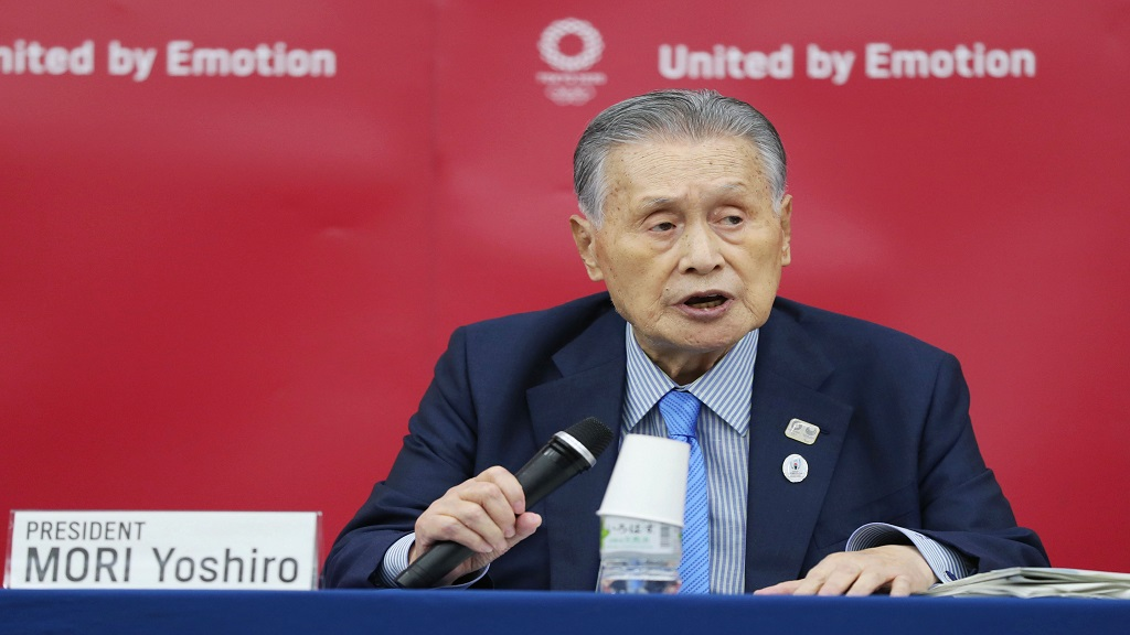 In this July 17, 2020, file photo, Tokyo 2020 Organising Committee President Yoshiro Mori speaks during a press conference in Tokyo. (Kyodo News via AP, File)/Kyodo News via AP).