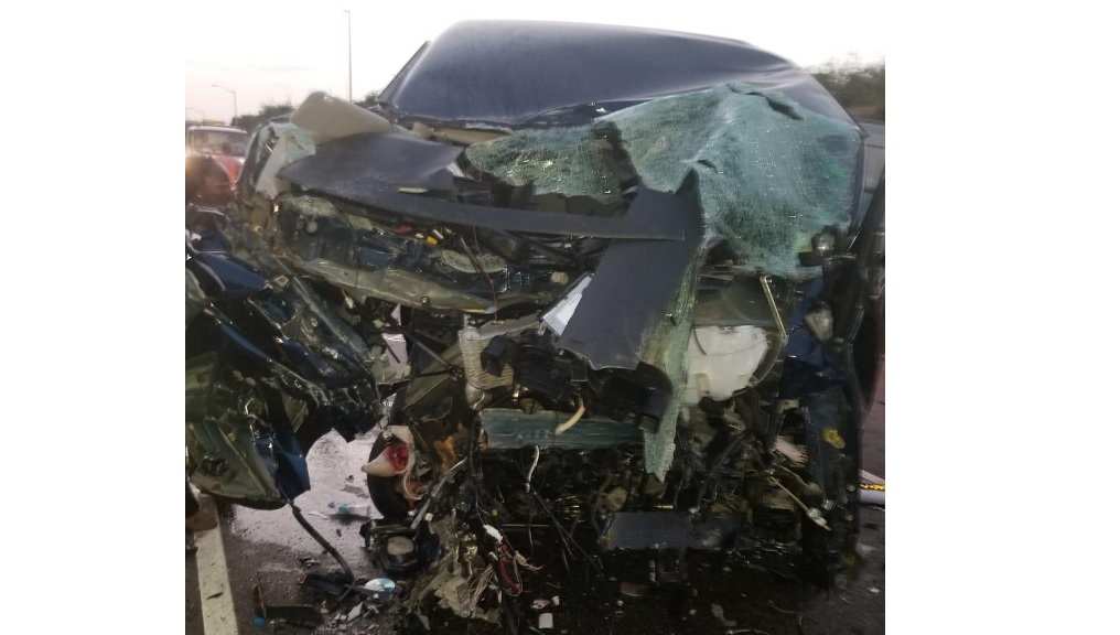 The mangled remains of a motor vehicle involved in the fatal accident on Tuesday.