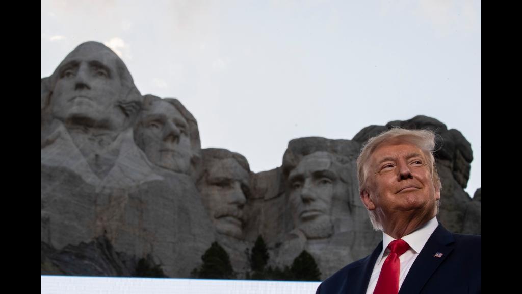 President Donald Trump smiles at Mount Rushmore National Memorial, Friday, July 3, 2020, near Keystone, S.D. (AP Photo/Alex Brandon)