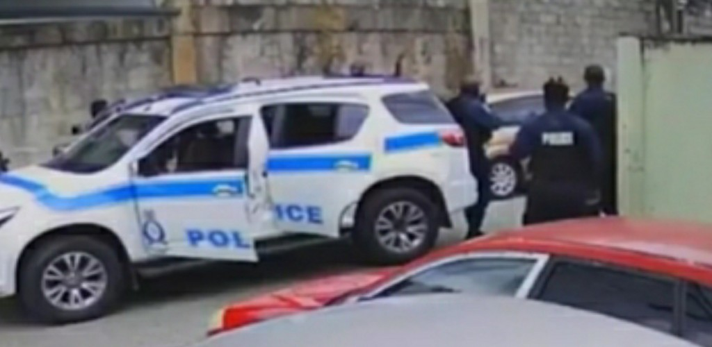 Screen grab of video showing the police confrontation with three men, who were shot and killed in Morvant, on Saturday