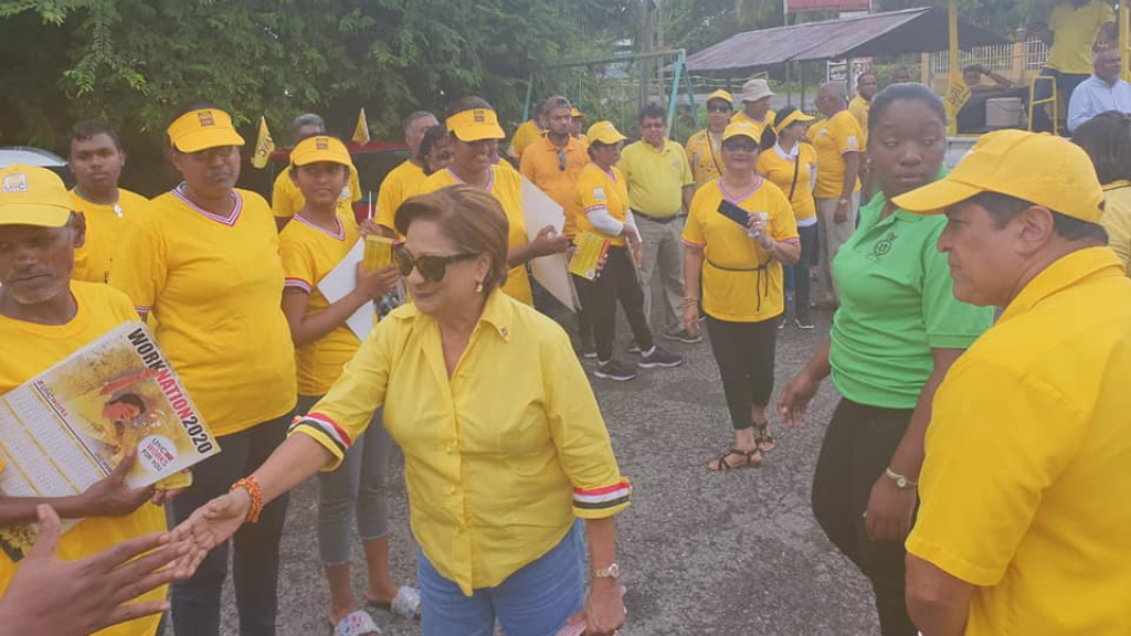 Flashback: Opposition leader Kamla Persad-Bissessar greets supporters during election campaigning for Local Government Elections, December 2019. Photo via Facebook, United National Congress.