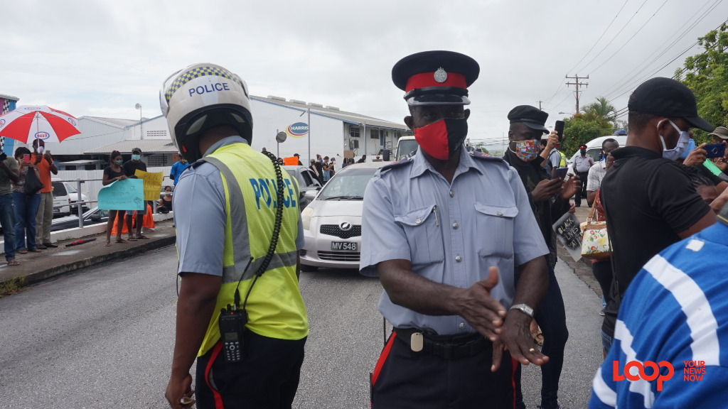 Members of the Royal Barbados Police Force at a recent Black Lives Matter Protest outside the US Embassy in June. (FILE)