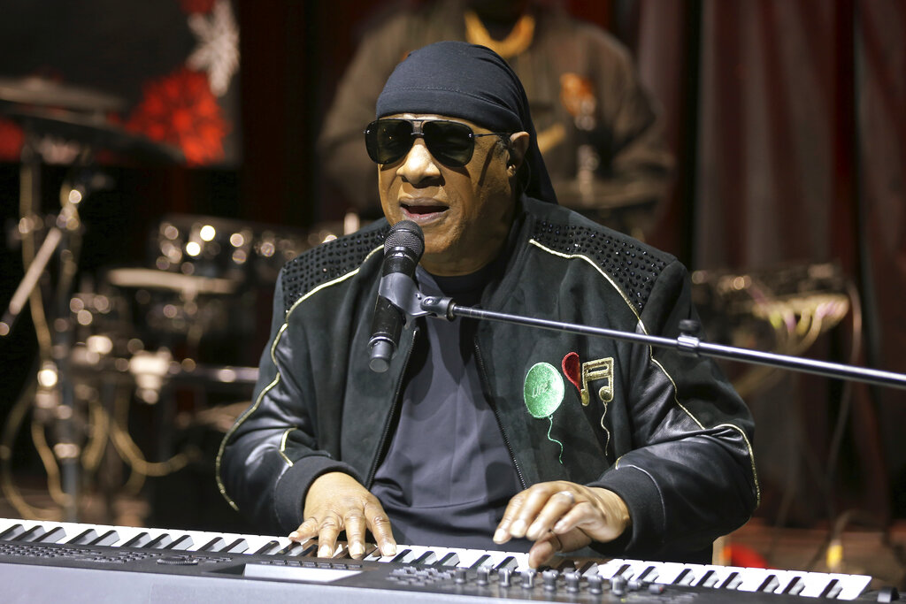 "In this Tuesday, Nov. 27, 2018 file photo, Stevie Wonder performs live at the ""House Full of Toys 22nd Annual Benefit Concert"" press conference in Los Angeles. (Photo by Willy Sanjuan/Invision/AP, File)"