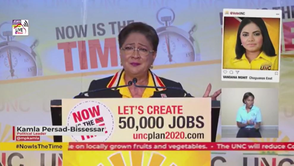 Pictured: UNC leader Kamla Persad-Bissessar speaks at a political meeting on July 30, 2020.
