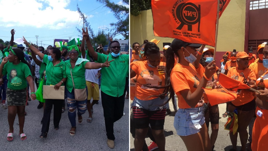 Combination of photos showing JLP and PNP supporters on Nomination Day.