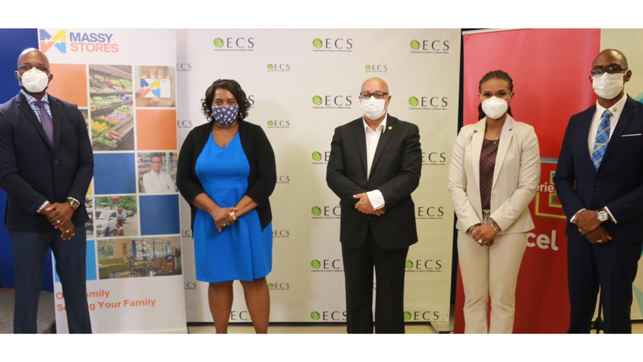 From L-R: Martin Dorville (Managing Director - Massy Stores (SLU) Ltd); Jenny Daniel (Deputy Permanent Secretary - Ministry of Health and Wellness Saint Lucia); Dr Didacus Jules (Director General -Organisation of Eastern Caribbean States); Siobhan James-Alexander (CEO - Digicel Saint Lucia); Abraham Weeks (Officer in Charge - OECS PPS)
