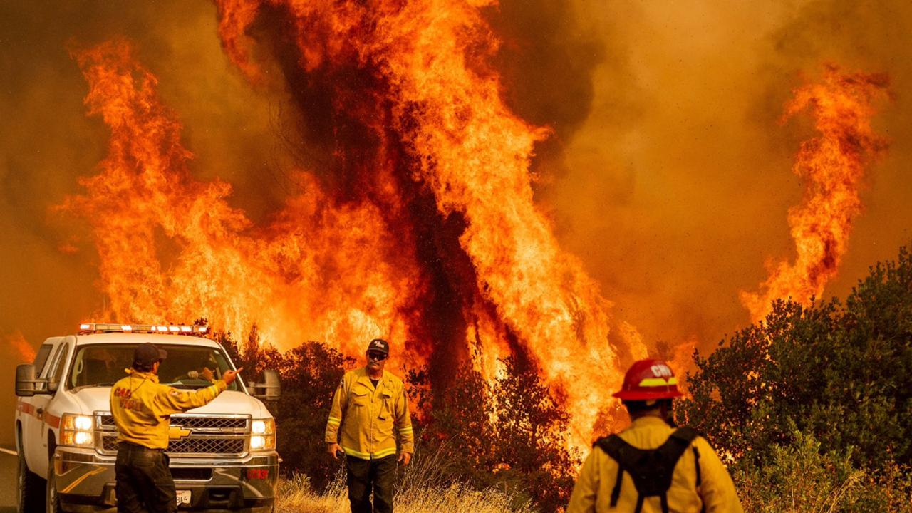 Flames from the LNU Lightning Complex fires leap above Butts Canyon Road on Sunday, Aug. 23, 2020, as firefighters work to contain the blaze in unincorporated Lake County, Calif. (AP Photo/Noah Berger)