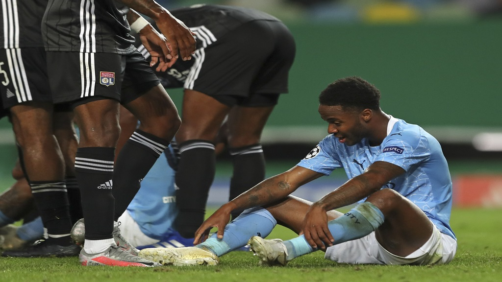 Manchester City's Raheem Sterling reacts at the end of the Champions League quarterfinal football match against Lyon at the Jose Alvalade stadium in Lisbon, Portugal, Saturday, Aug. 15, 2020.   six days after the match, Sterling attended Usain Bolt's birthday party in Jamaica, a clear breach of the mandatory 14-day quarantine requirement for overseas visitors. (Miguel A. Lopes/Pool via AP).