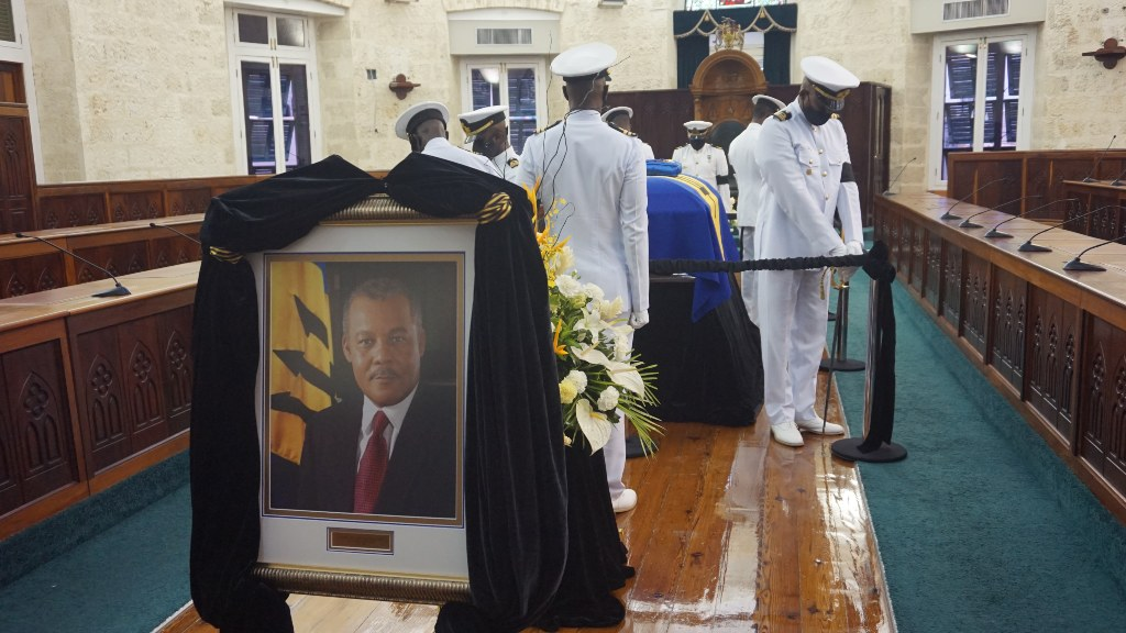 Military Guard as the Late Rt. Hon. Owen Arthur lays in state in Parliament for second day